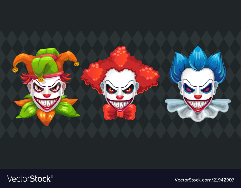 Halloween Spooky.Creepy Clown Faces Set Spooky Halloween Masks