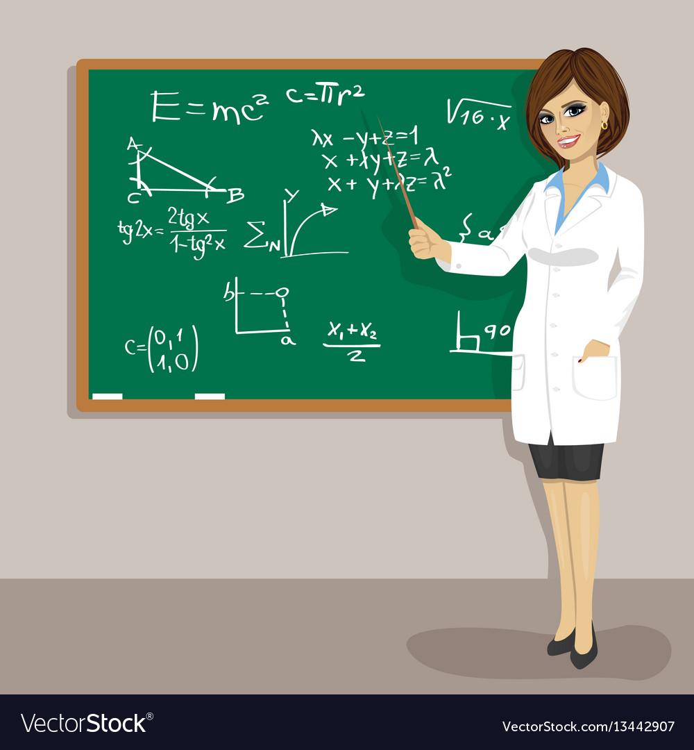 Female math teacher standing next to blackboard vector image