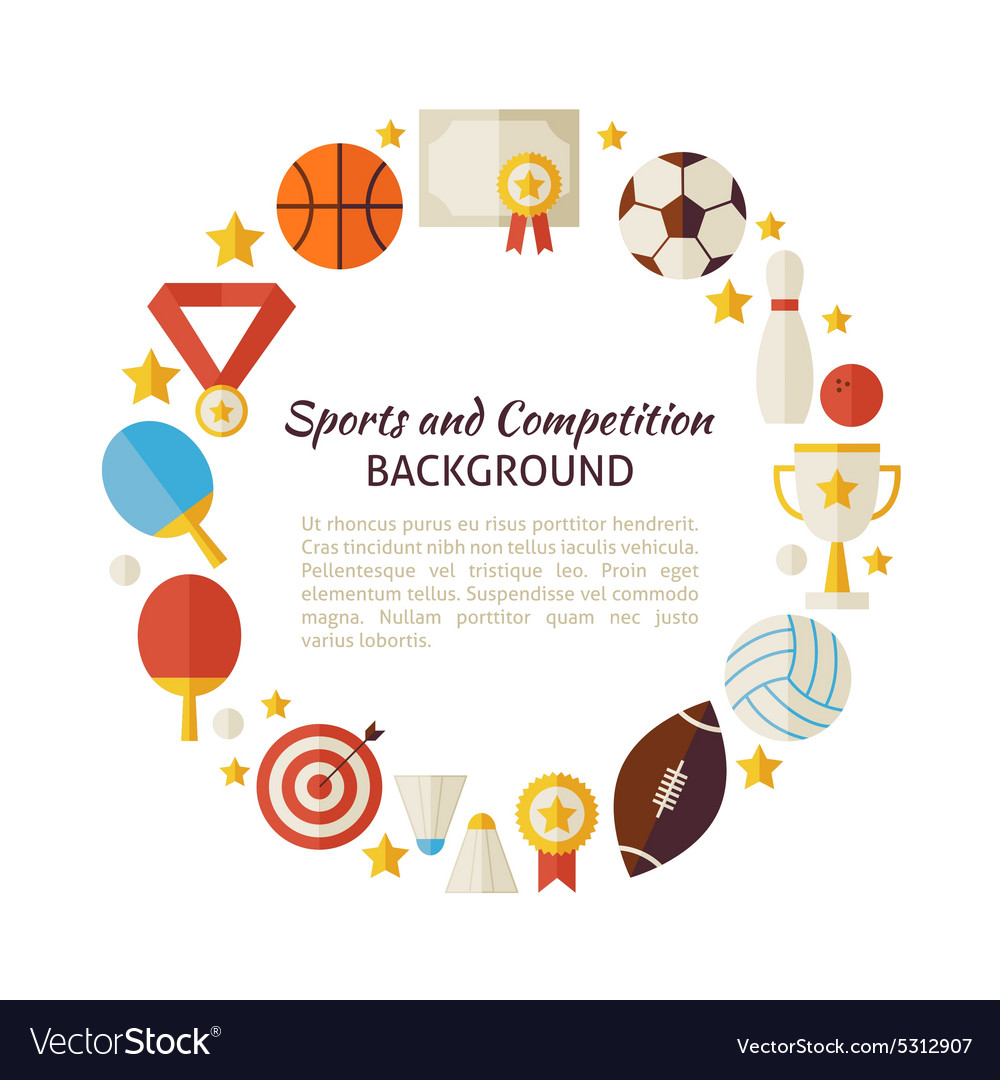 Flat Style Circle Template of Sport Recreation and vector image