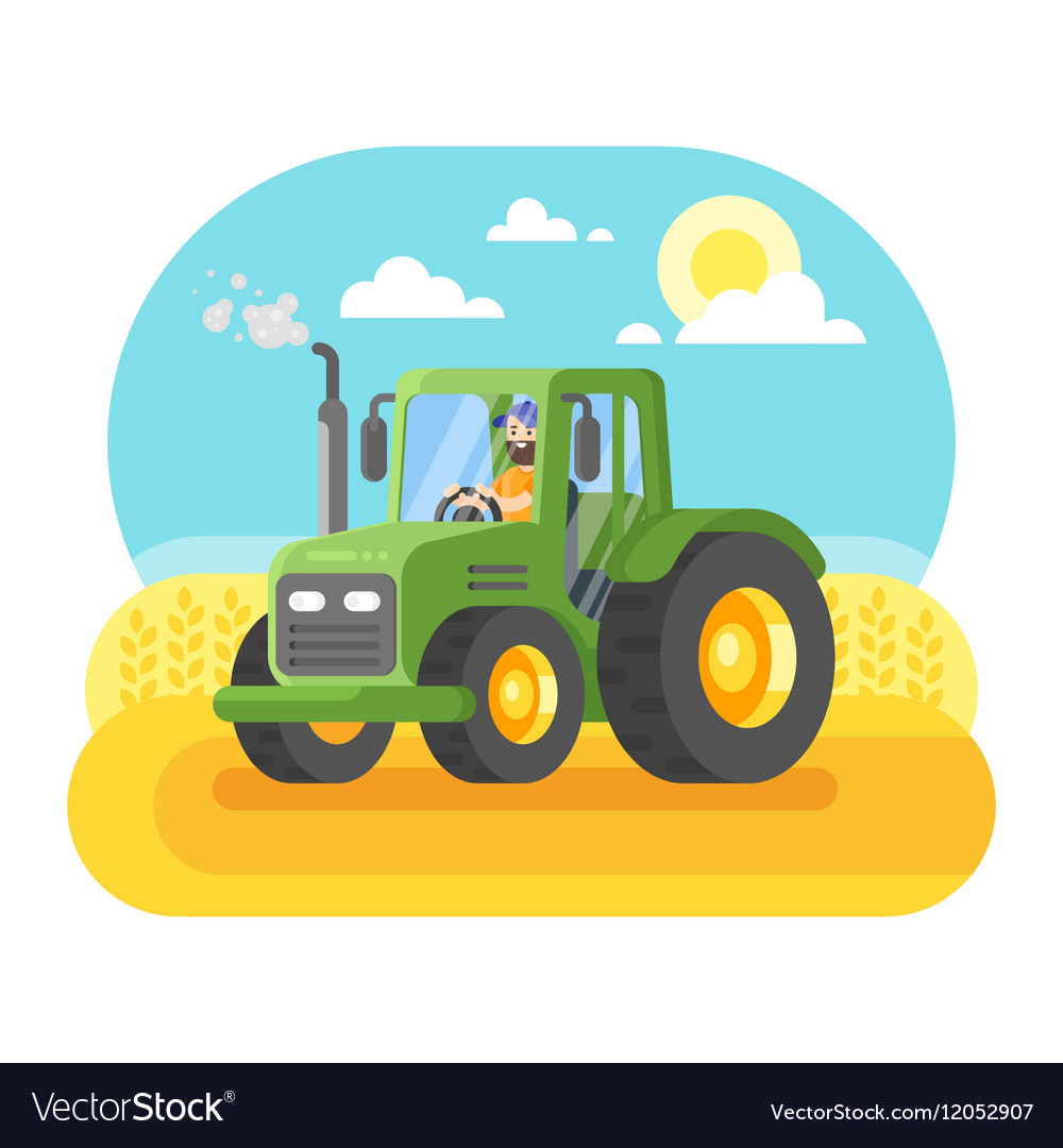Flat style of farmer working in farmed land