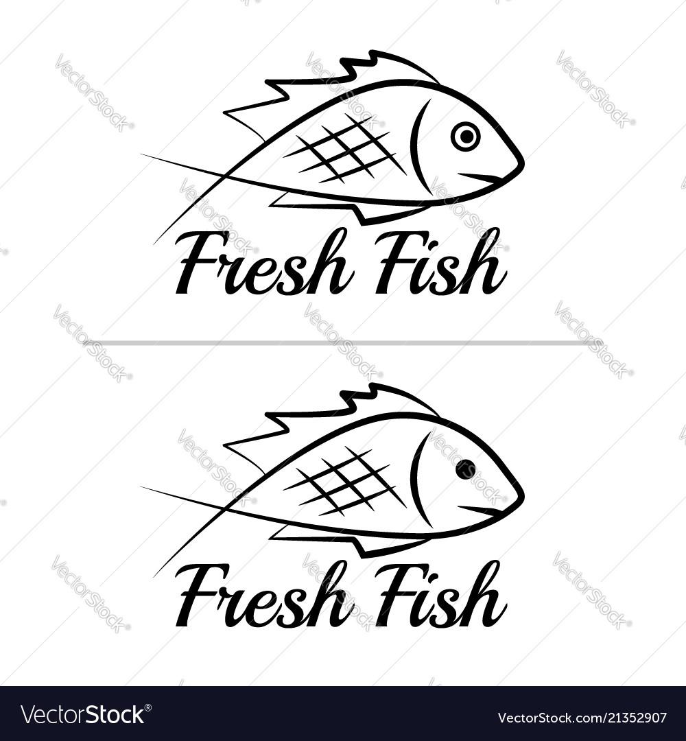 Fresh fish logo symbol sign black colored set 8