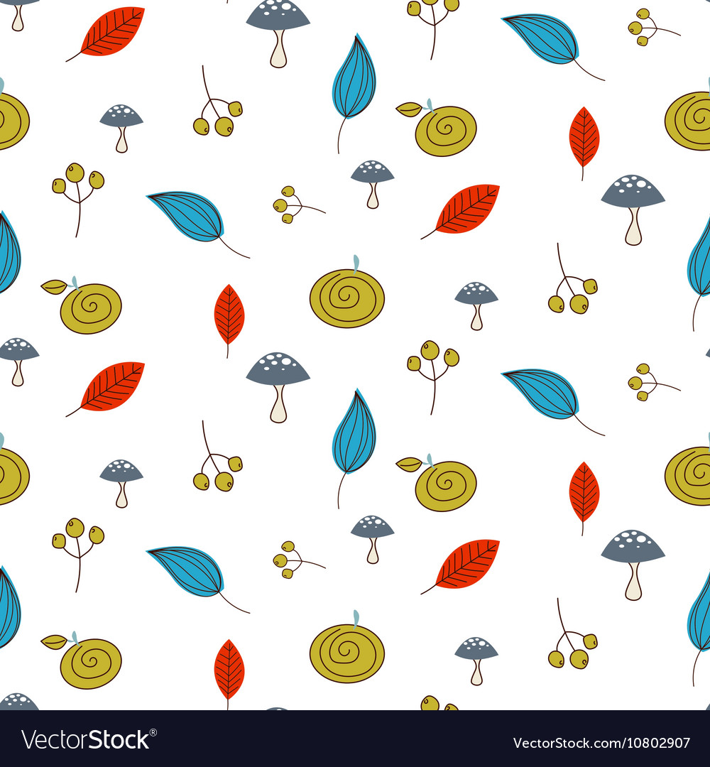 Leaves and berries fall seamless pattern