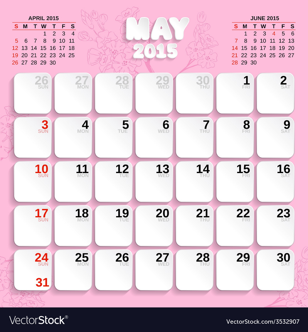 month by month calendar 2015