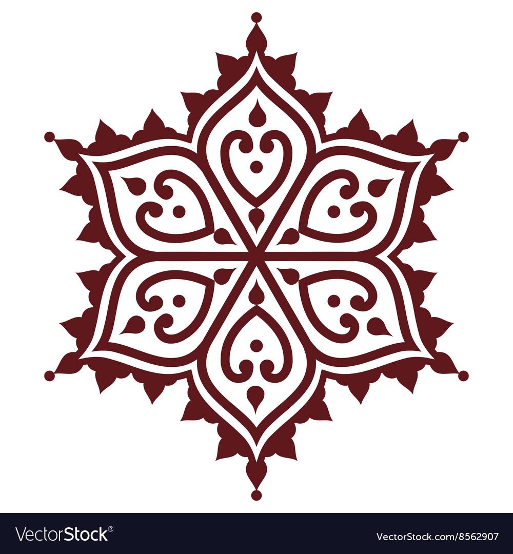 Mehndi Indian Henna brown tattoo design - flower