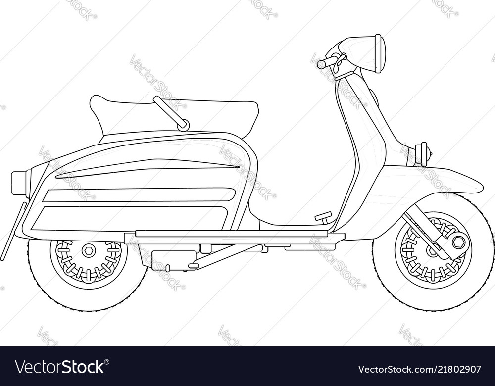Scooter Outline Drawing Royalty Free Vector Image