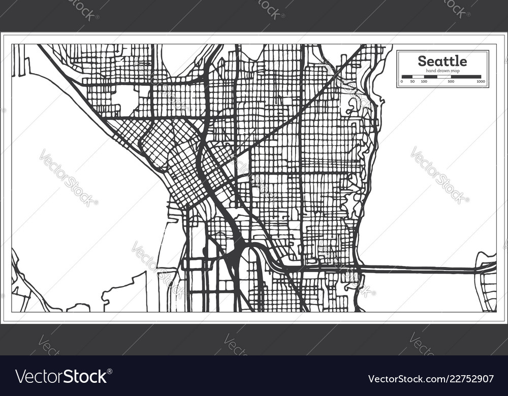 Seattle Usa City Map In Retro Style Outline Map Vector Image