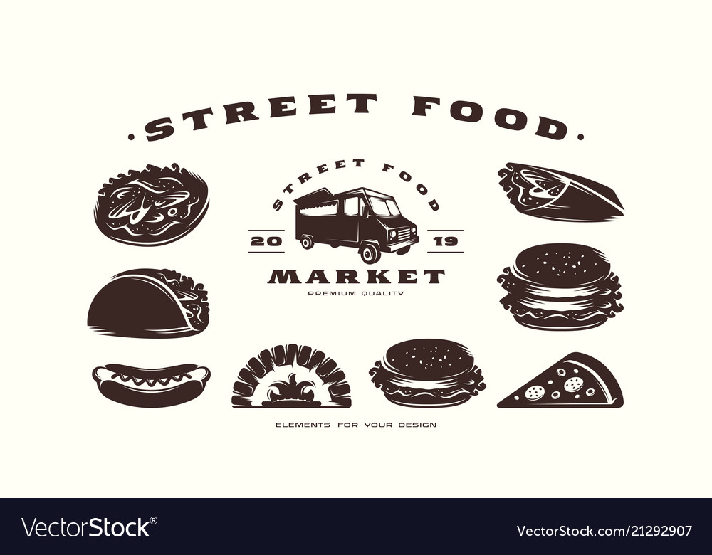Stock set of fast food icons and design elements