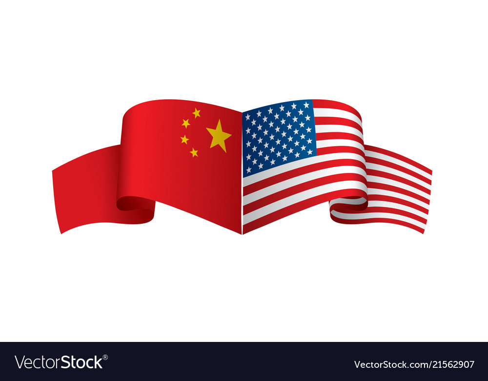 Usa And China Flags On White Royalty Free Vector Image