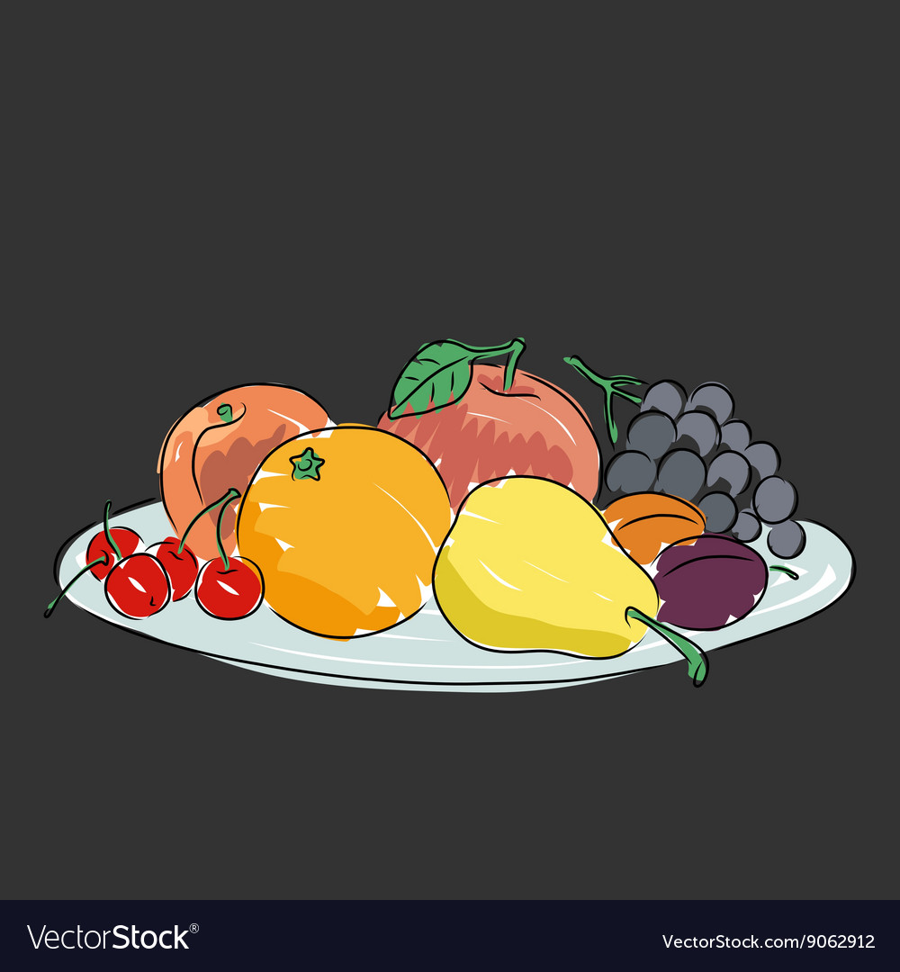 A plate with fruit