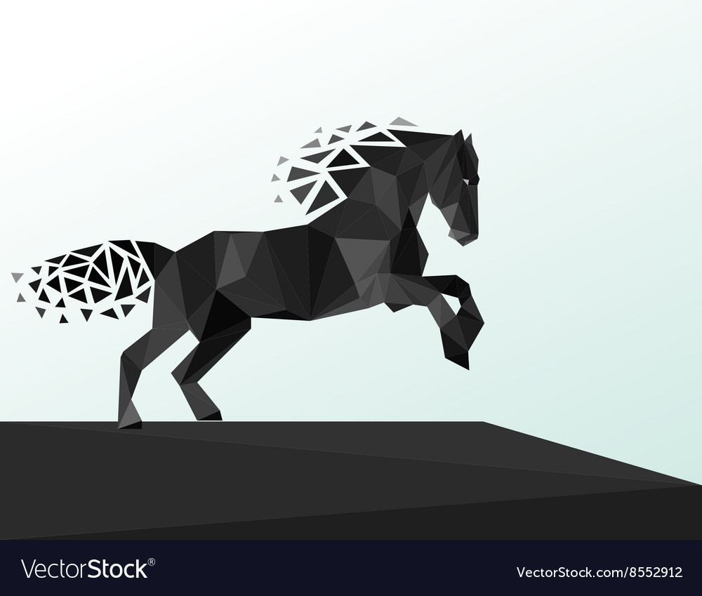 Black horse polygonal geometric pattern design