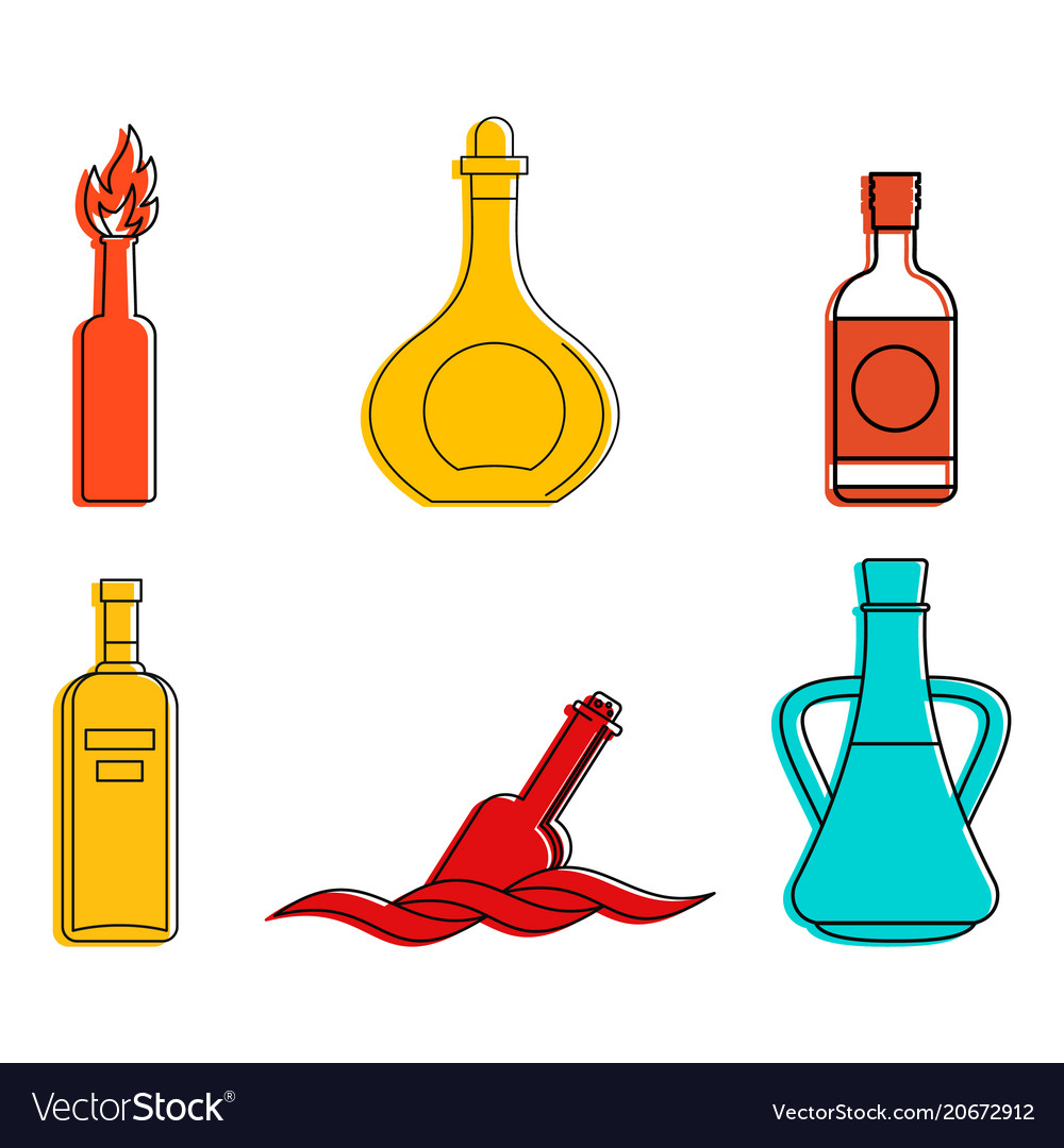 Bottle icon set color outline style vector image