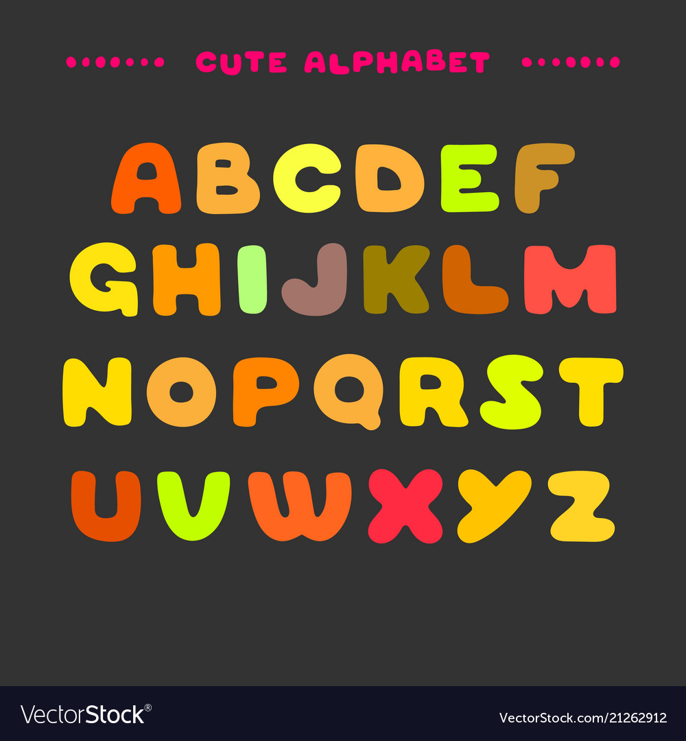 Cute colorful hand drawn uppercase alphabet