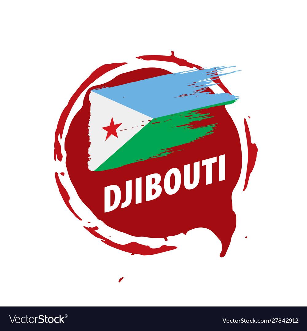 Djibouti flag on a white