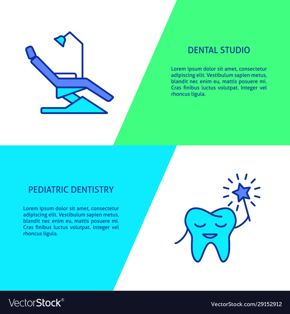 Family dental clinic flyer templates in line style