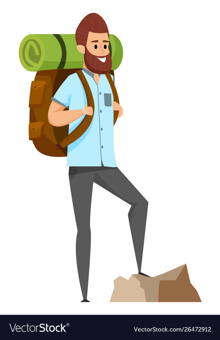 Man hiking or climbing sporty hobby risk