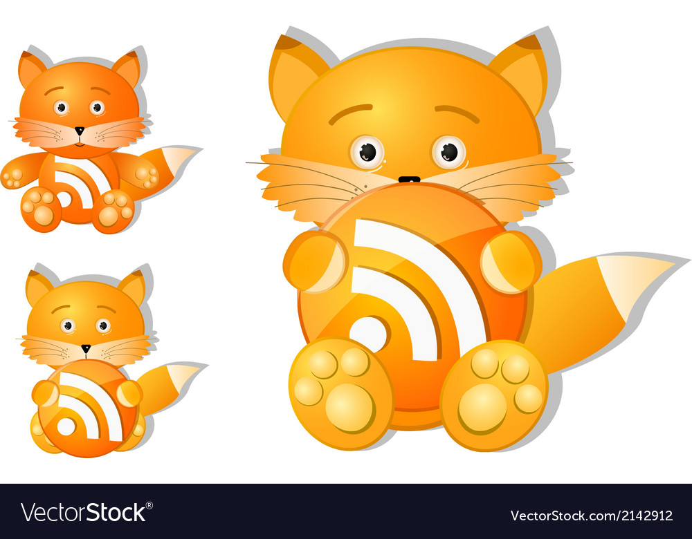 Rss icon set as cute red fox toy