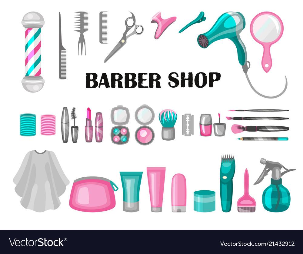 Set of barber shop badges