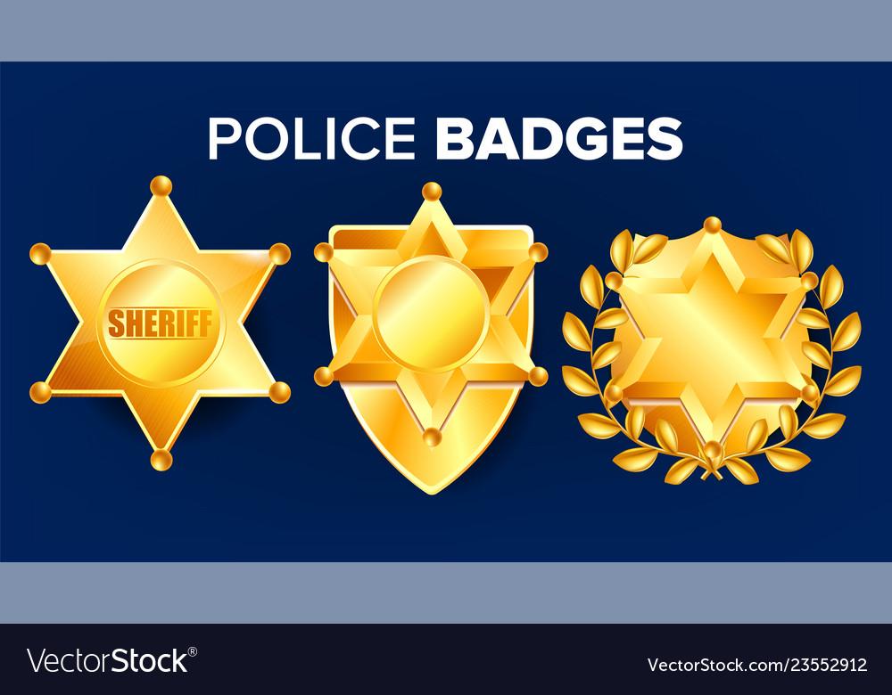 Sheriff badge golden star officer icon