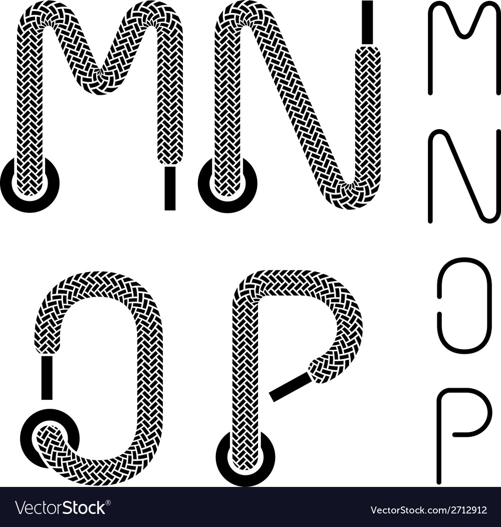 Shoe lace alphabet letters M N O P Royalty Free Vector Image