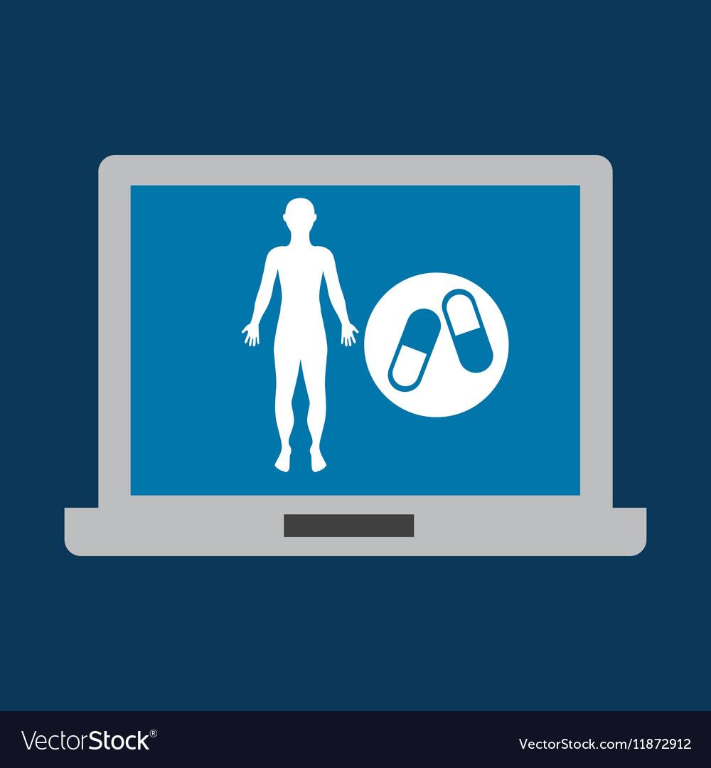Silhouette man fitness medicine sport vector image