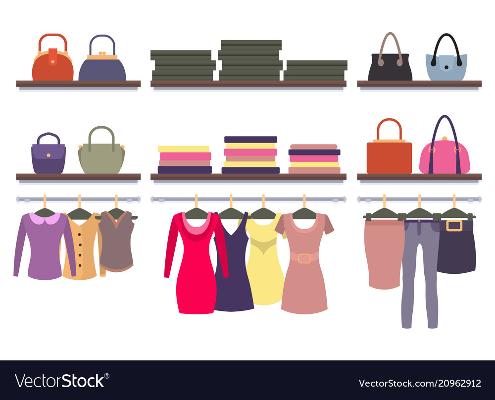 251601511 Womens clothing store shop window clothes hanging Vector Image