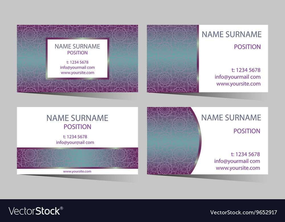 Business-card set with elegant round design vector image