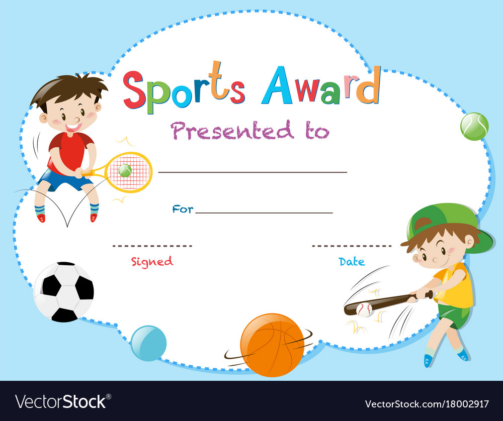 Certificate Template With Two Boys Playing Sports Vector Image