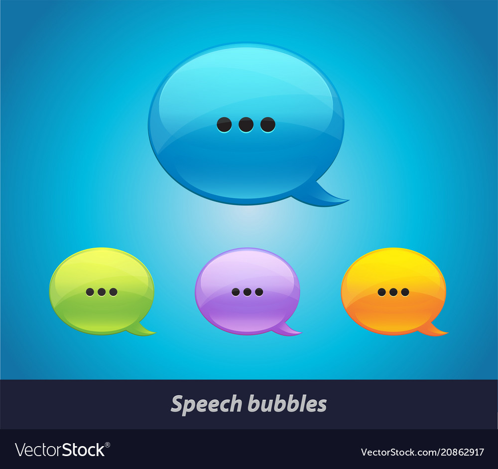 Collection of isolated speech bubbles on