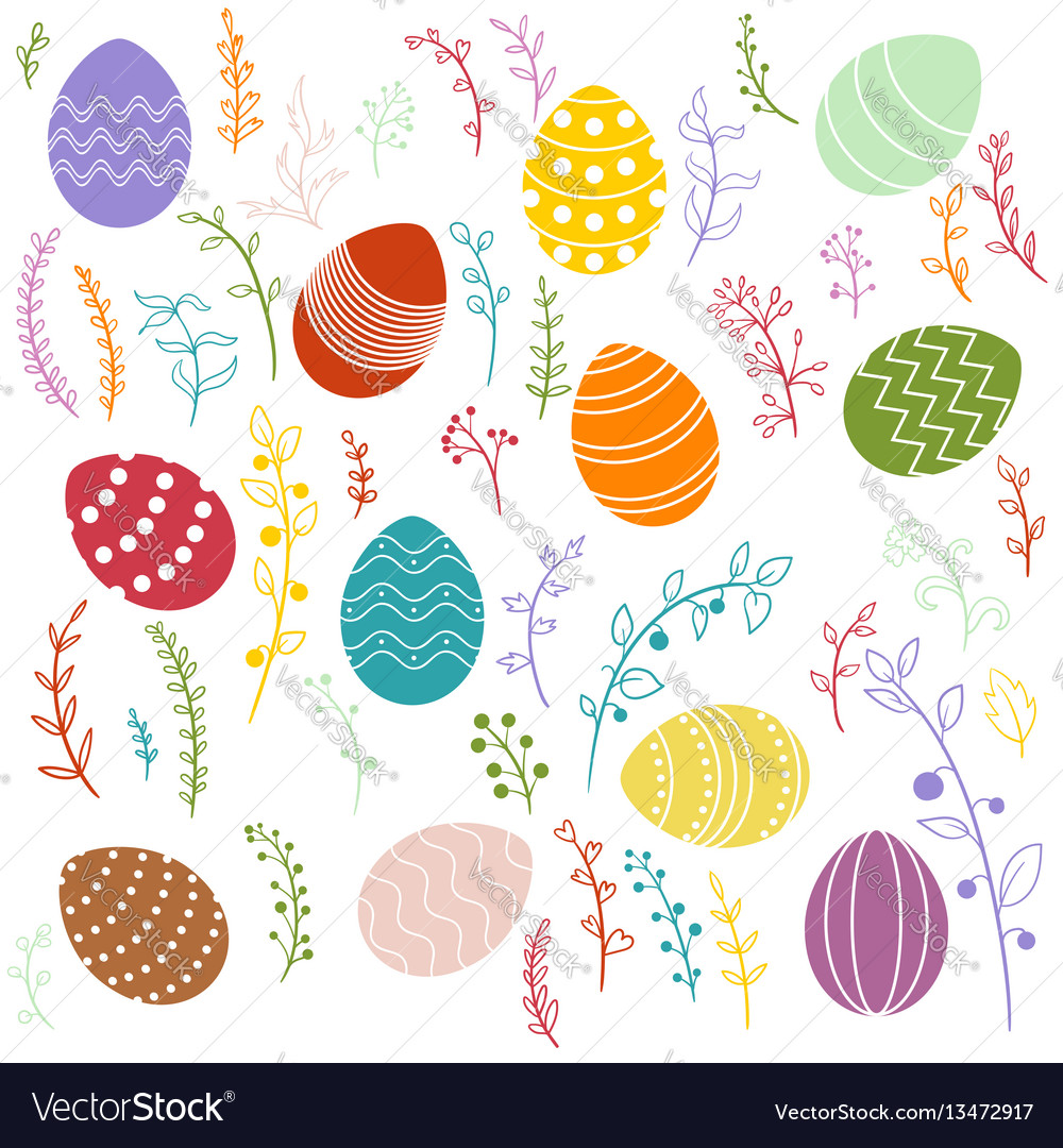 Easter eggs and floral elements