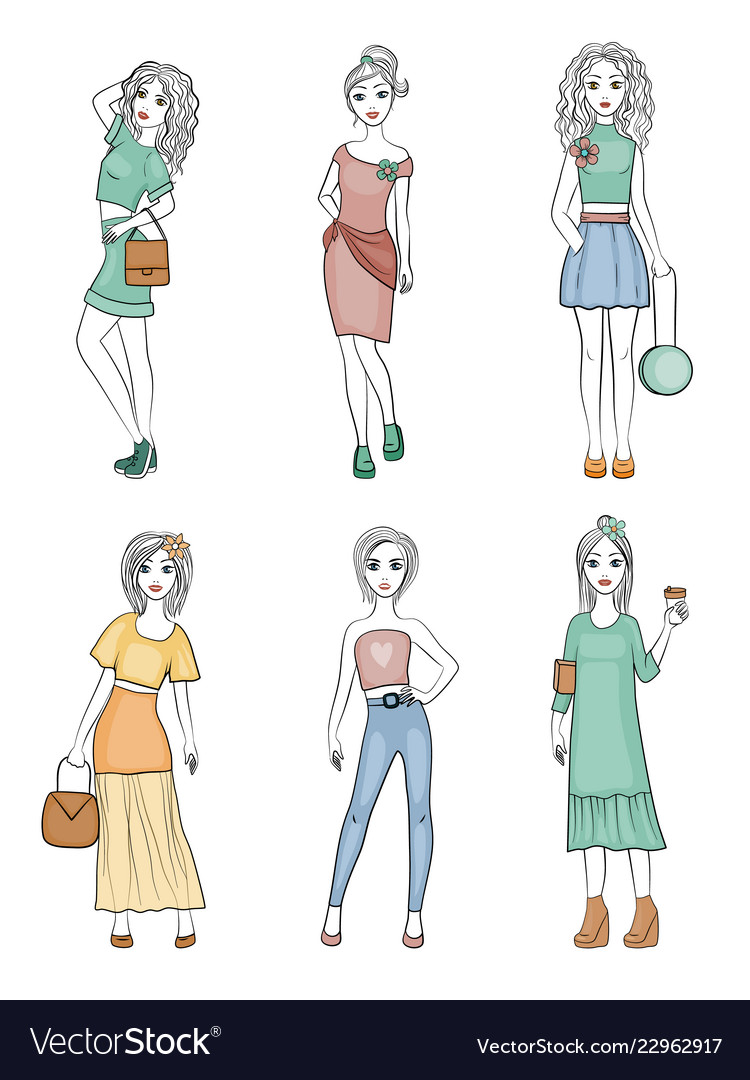 Fashion girls characters cute female young vogue