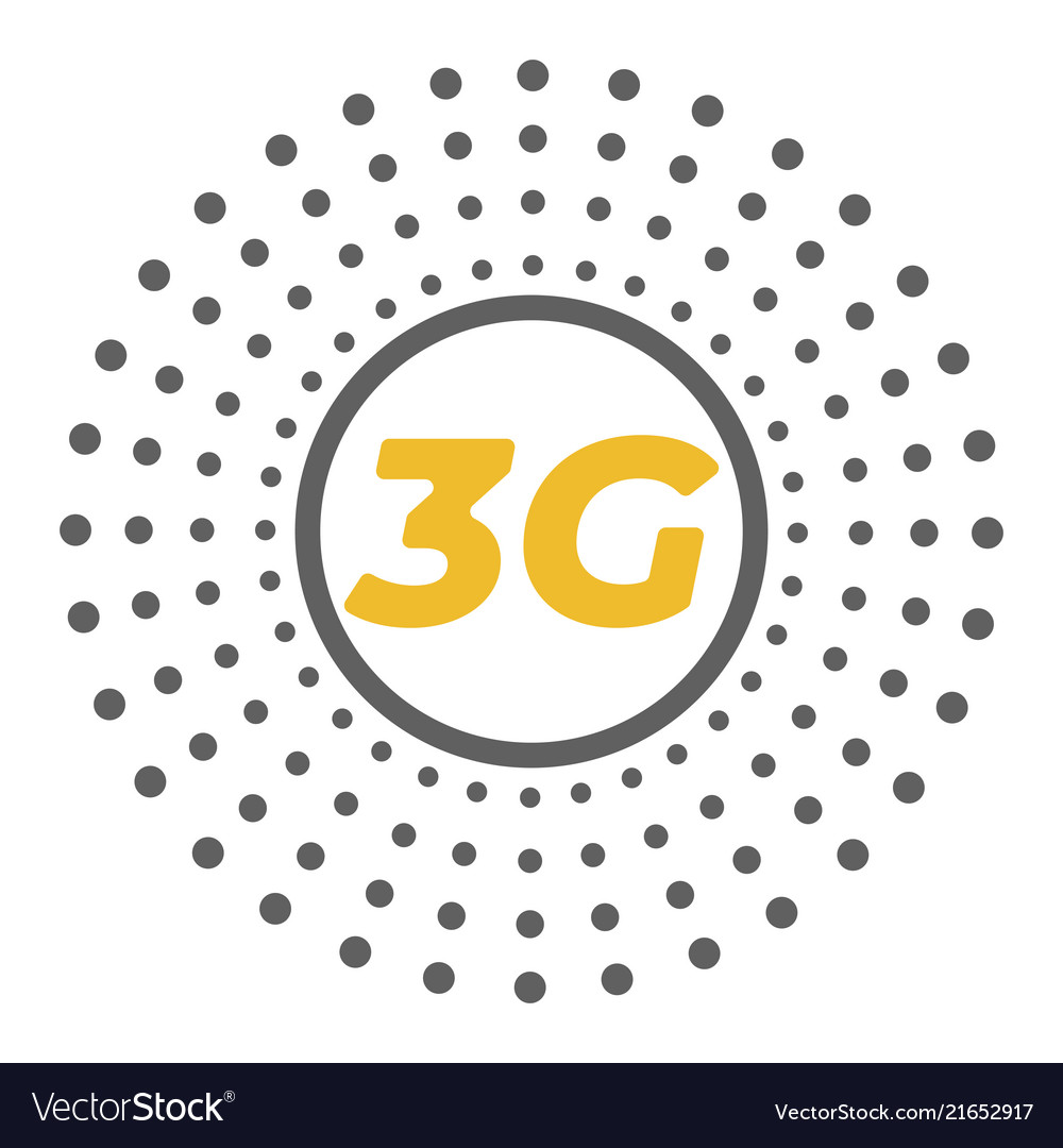 Flat 3g logo with dots area around