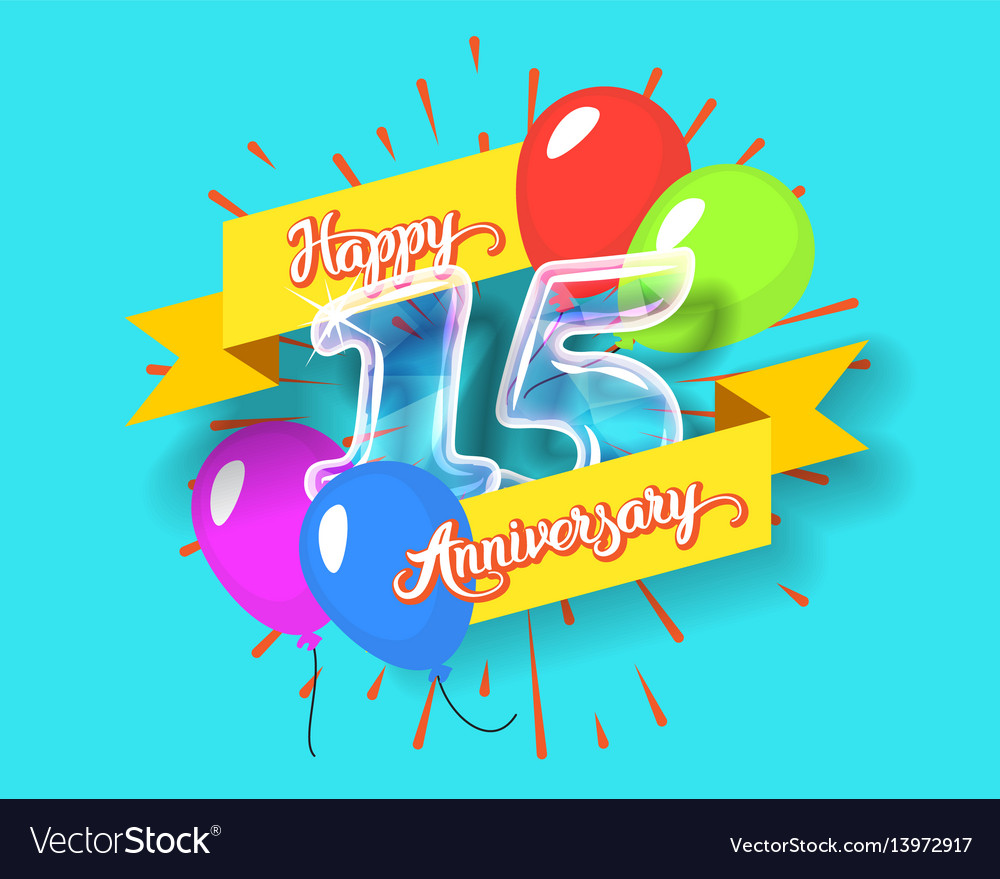 Happy 15th anniversary glass bulb numbers set