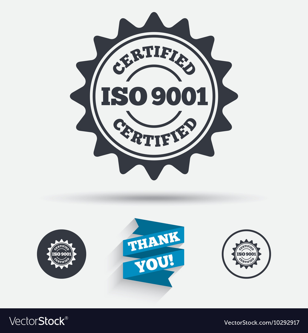 ISO 9001 Certified Sign Certification Stamp Vector Image