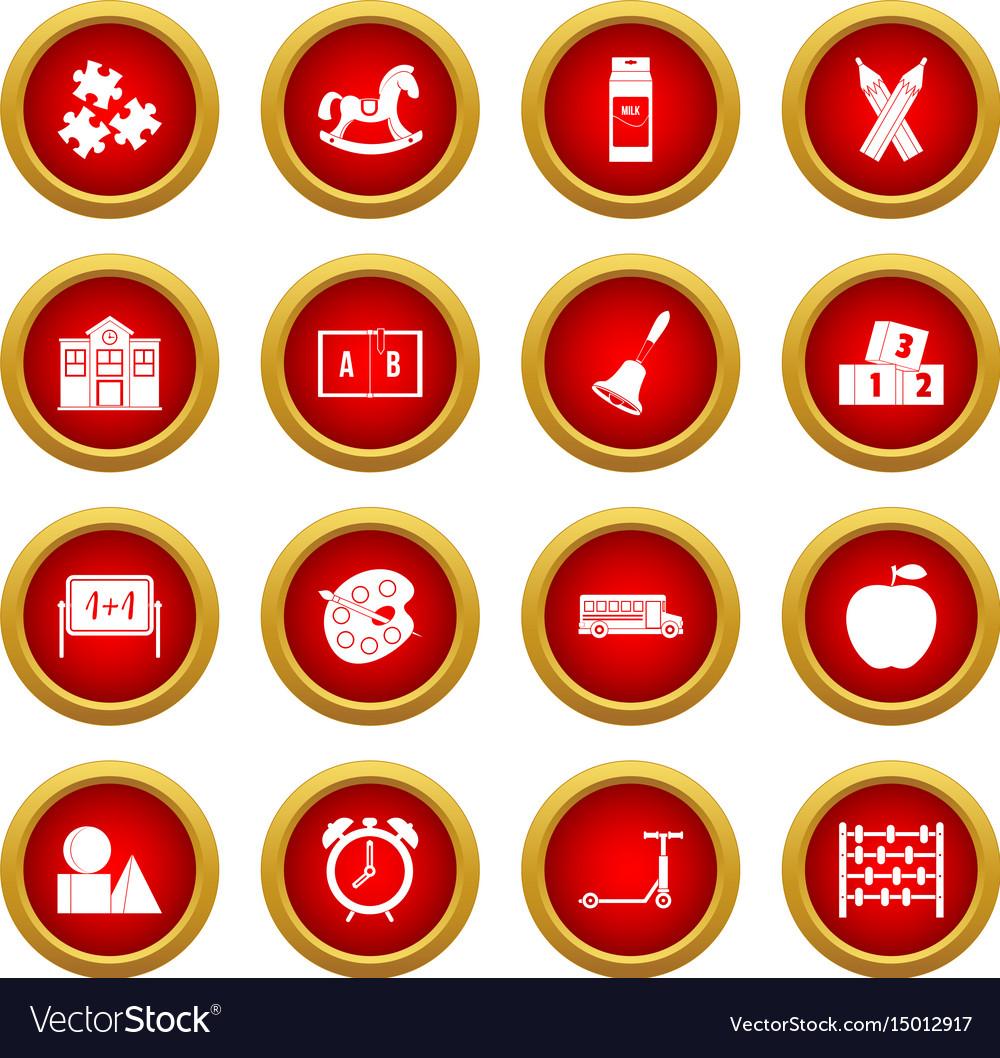 Kindergarten symbol icon red circle set