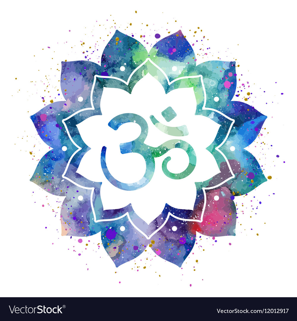 Om Sign In Lotus Flower Royalty Free Vector Image