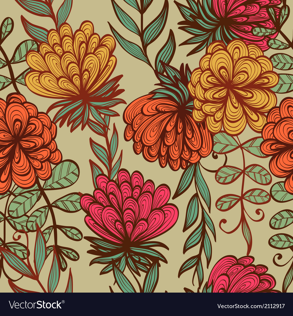 Seamless vintage floral pattern Royalty Free Vector Image