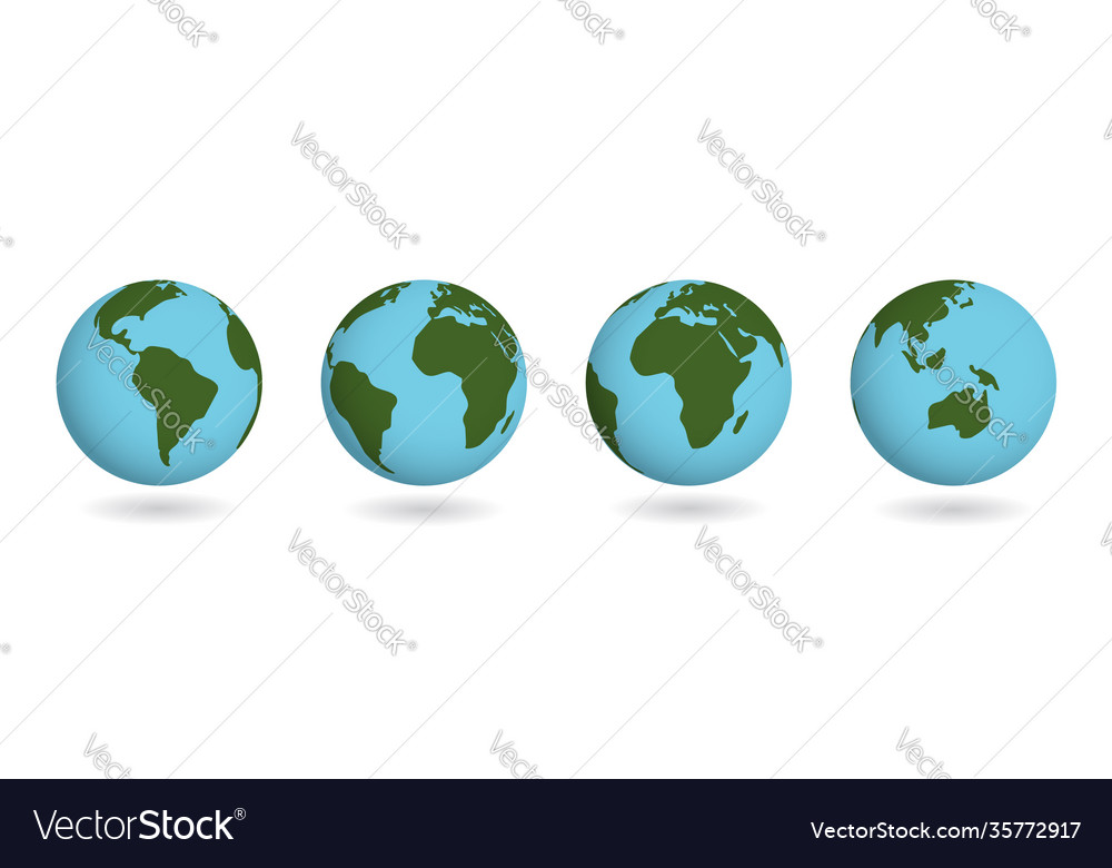 Set earth planet atlas countries on sphere