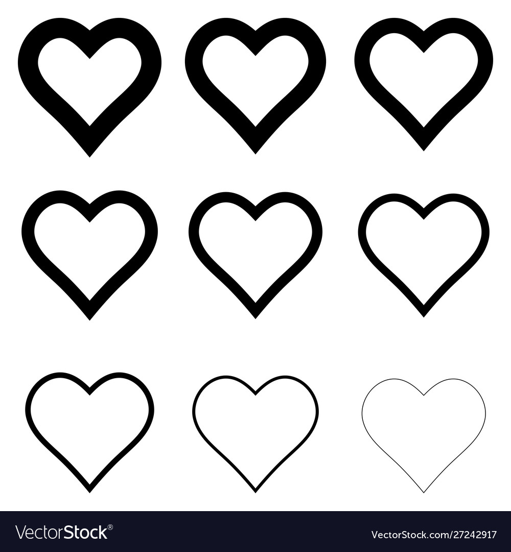 Set heart shape icons symbol love and