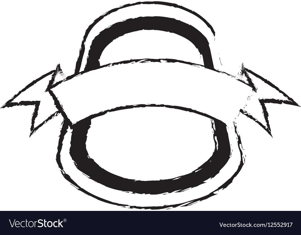 Shield insignia with ribbon sketch