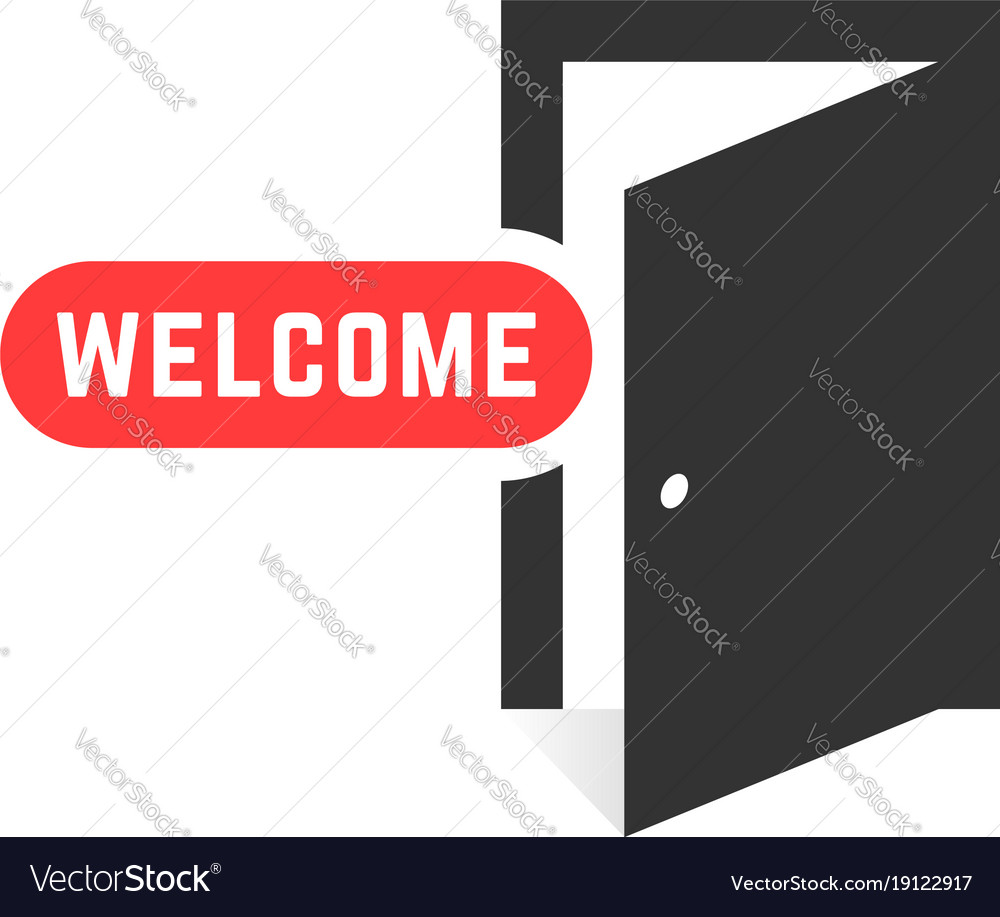 open door welcome kid welcome like open door icon isolated on white vector image