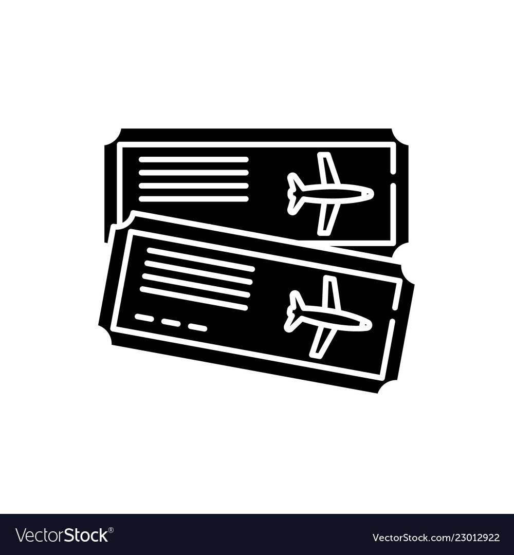 Airline tickets black icon sign on