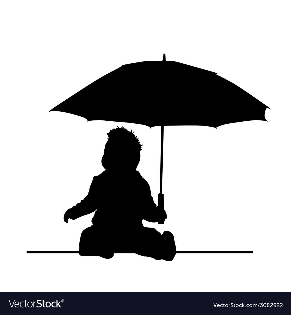 Baby holding umbrella silhouette