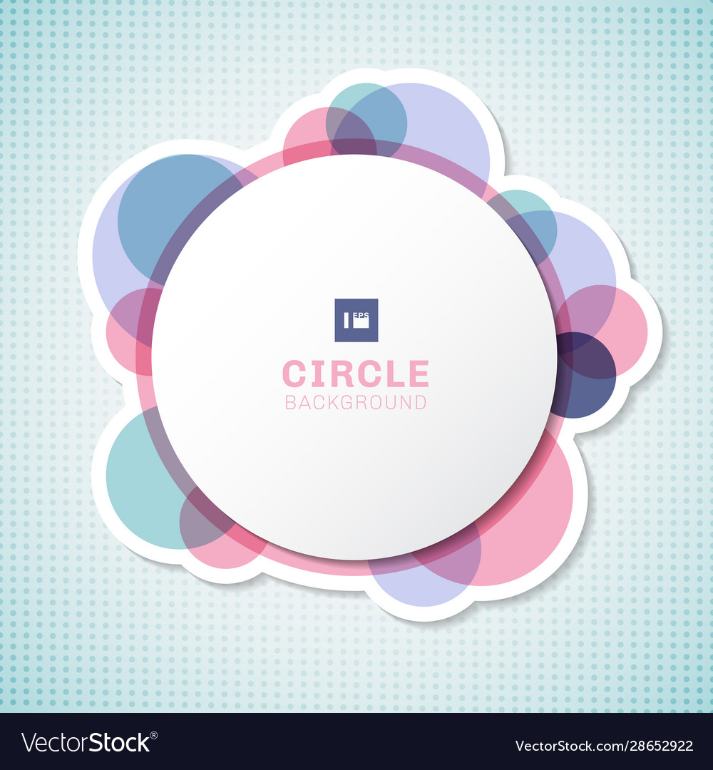 Banner white circle round label with pastel