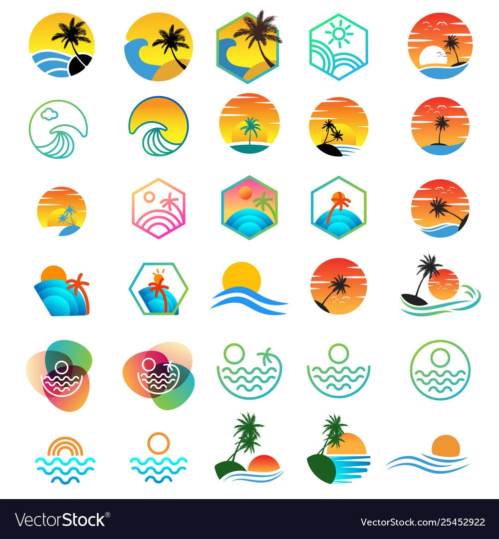 Beach sunset logo design holiday logo collection