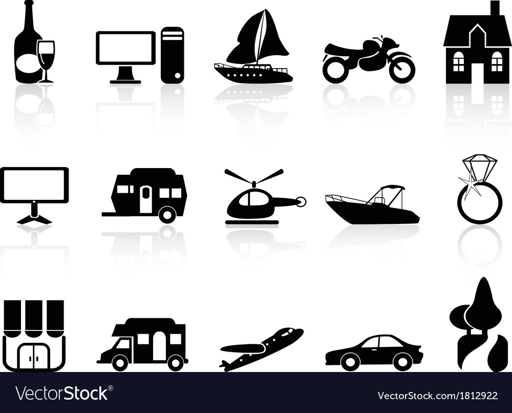 Black property icons set vector image