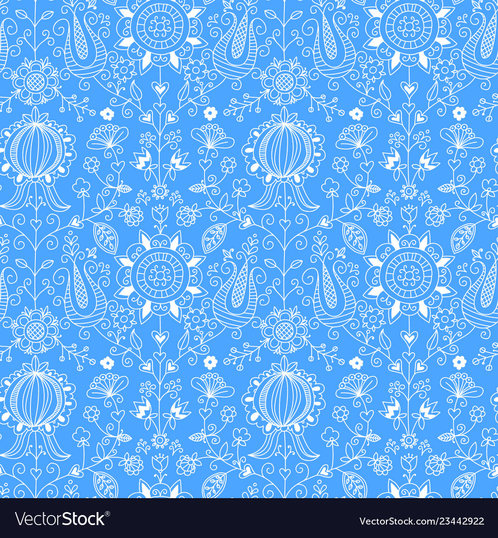 Blue and white floral folk seamless pattern