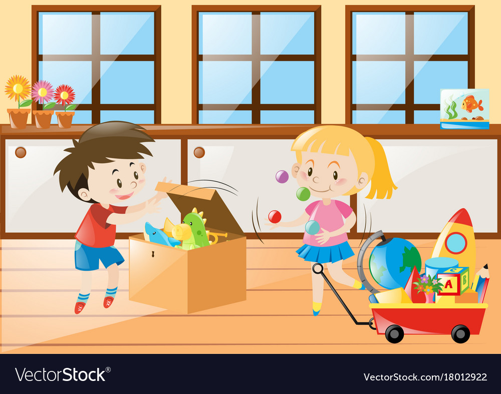 Boy And Playing Toys At Home Vector Image