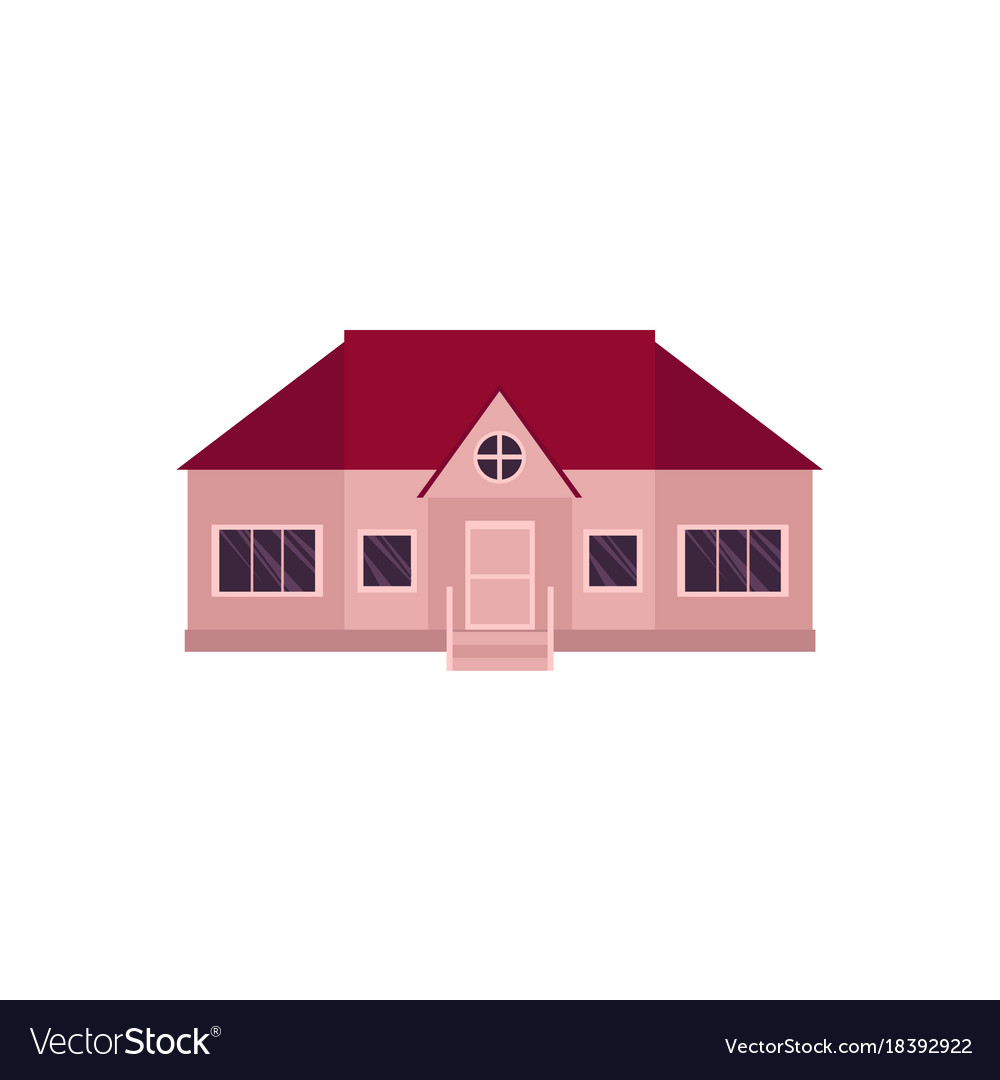 Cartoon style icon of one-storey house home