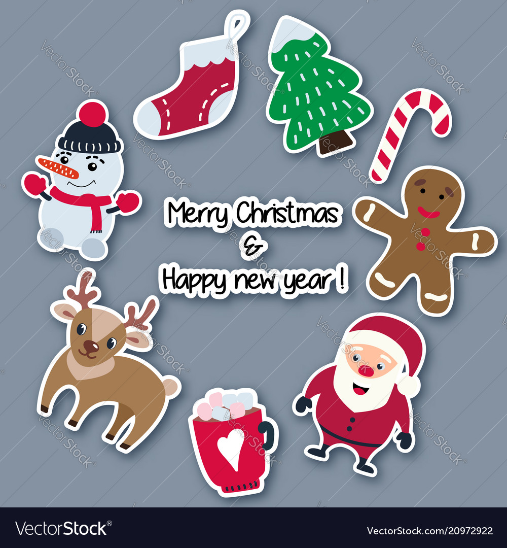 Christmas and new year stickers made of paper