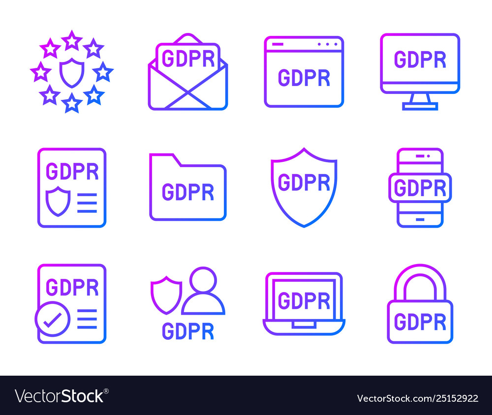 Gdpr general data protection regulation icon set